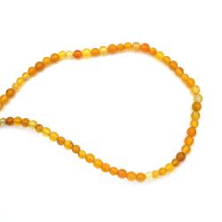 Наниз мъниста полускъпоценен камък АХАТ жълт топче 4 мм ±100 броя