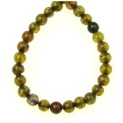 Αχάτης στρόγγυλη ημιπολύτιμη χάντρα 4 mm κιτρινοπράσινο~ 100 τεμάχια