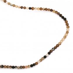Наниз мъниста полускъпоценен камък АХАТ ИВИЧЕСТ кафяв топче 3~4 мм ~129 броя