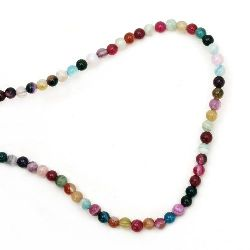 Natural Striped Agate Round Beads Strand, Assorted Colors Ball 4mm ~ 94 pcs