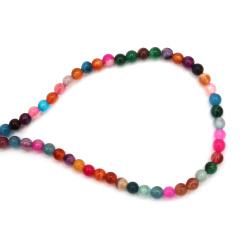 Наниз мъниста полускъпоценен камък АХАТ ивичест асорте цветове топче 6 мм ±62 броя