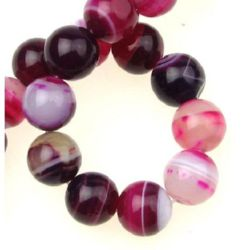 Natural Striped Agate Round Beads Strand, Dyed, Hot Pink12mm ~ 33 pcs