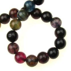 Наниз мъниста полускъпоценен камък АХАТ асорте цветове топче 10 мм ~38 броя