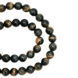 "Grade ""A"" TIGER'S EYE Round Beads Strand 8 mm ~ 48 pcs"