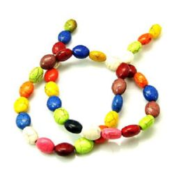 Gemstone Beads Strand, Synthetic Turquoise, Oval, Mixed color, 10x9x6mm, ~39 pcs