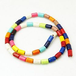 Gemstone Beads Strand, Synthetic Turquoise, Cylinder, Mixed color, 8x5mm, ~49 pcs