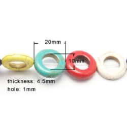 Gemstone Beads Strand, Synthetic Turquoise, Donut, Mixed color, 20x4.5mm, ~20 pcs