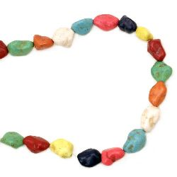 Gemstone Beads Strand, Synthetic Turquoise, Beads, Mixed color, 13-18mm, ~24 pcs