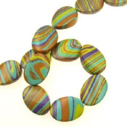 Gemstone Beads Strand, Synthetic Turquoise, Oval, Mixed color, 25x18x7mm, ~16 pcs