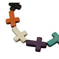 Gemstone Beads Strand, Synthetic Turquoise, Cross, Mixed color, 22x30x6mm, ~14 pcs