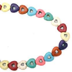 Наниз мъниста полускъпоценен камък ТЮРКОАЗ синтетичен многоцветен сърце 15x14x5.5 мм ~28 броя