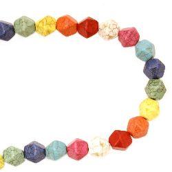 Наниз мъниста полускъпоценен камък ТЮРКОАЗ синтетичен многоцветен камъче 15x14 мм ~27 броя