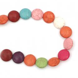 Наниз мъниста полускъпоценен камък ТЮРКОАЗ синтетичен многоцветен паричка 19x20x7 мм ~19 броя