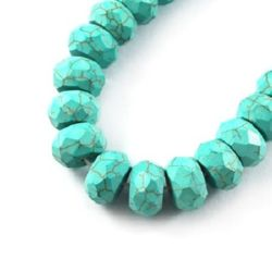 Gemstone Beads Strand, Synthetic Turquoise, Abacus, Faceted, 12x7mm, ~50 pcs