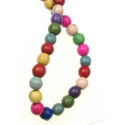 Margele de coarde Piatră semiprețioasă TURCOASE Margelă sintetică multicolor 6mm ~ 65 bucăți