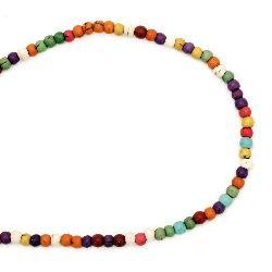 Наниз мъниста полускъпоценен камък ТЮРКОАЗ многоцветен синтетичен топче 4 мм ±96 броя