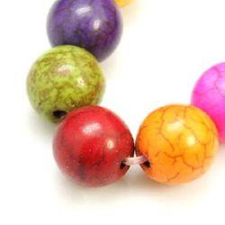 Margele de coarde semiprețioase piatră TURKOAZ bilă sintetică multicolor 12 mm ~ 35 bucăți
