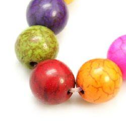 Margele de coarde semiprețioase piatră TURKOAZ bilă sintetică multicolor 14 mm ~ 30 bucăți