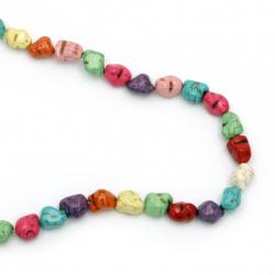 Наниз мъниста полускъпоценен камък ТЮРКОАЗ синтетичен многоцветен камъче 10x12 мм ~36 броя