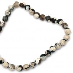 Наниз мъниста полускъпоценен камък АХАТ кафяв микс топче 12 мм ~33 броя