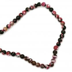 Наниз мъниста полускъпоценен камък АХАТ розов микс топче 8 мм ±48 броя