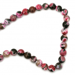 Наниз мъниста полускъпоценен камък АХАТ розов микс топче 12 мм ~33 броя