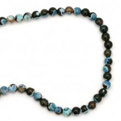 Наниз мъниста полускъпоценен камък АХАТ син микс топче 8 мм ~48 броя