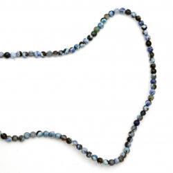 Наниз мъниста полускъпоценен камък АХАТ син тъмен микс топче 4 мм ±91 броя