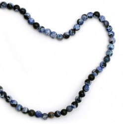 Αχάτης στρόγγυλη ημιπολύτιμη χάντρα 6 mm μπλε σκούρο ΜΙΞ ~ 63 κομμάτια