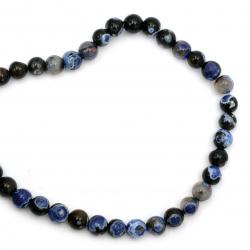 Αχάτης στρόγγυλη ημιπολύτιμη χάντρα 10 mm μπλε σκούρο ΜΙΞ ~ 38 κομμάτια