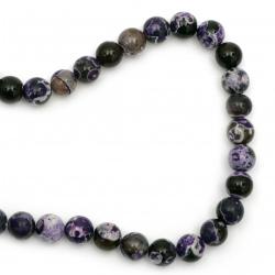 Sir margele piatră semiprețioasă AGAT    violet mix bilă  12 mm ~ 33 bucăți