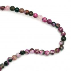 Natural Fire Agate Round Beads Strand, Dyed 6mm ~ 63 pcs
