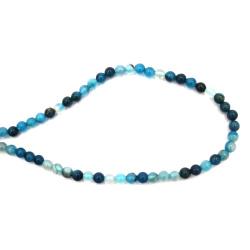 Наниз мъниста полускъпоценен камък АХАТ ивичест син топче 6 мм ±63 броя