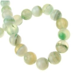 Natural Striped White Agate Round  Beads Strand, Dyed, Pale Green 8mm ~ 48 pcs