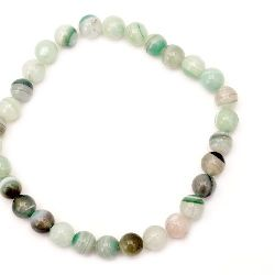 Natural Striped White Agate Round  Beads Strand, Dyed, Pale Green 12mm ~ 32 pcs