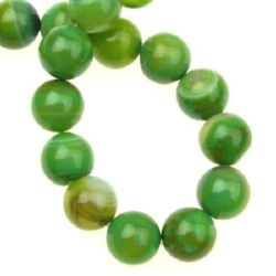 Natural Striped Agate Round  Beads Strand, Dyed, Green 10mm ~ 38 pcs