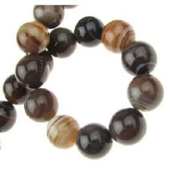 Natural Striped Agate Round Beads Strand, Died, Brown 14mm ~ 28 pcs