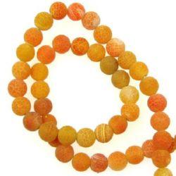 Sir margele piatră semiprețioasă AGAT portocaliiu bila mat 8mm ~ 48 bucăți