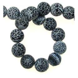 Наниз мъниста полускъпоценен камък АХАТ черен топче матирано 12 мм ~33 броя