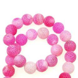Наниз мъниста полускъпоценен камък АХАТ розов топче матирано 10 мм ±38 броя