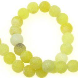 Șir de mărgele din piatră semiprețioasă AGAT galbenă mat bilă galbenă mată 8 mm ~ 48 bucăți