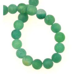 Șir de mărgele din piatră semiprețioasă AGAT  bilă verde mat 6 mm ± 65 bucăți