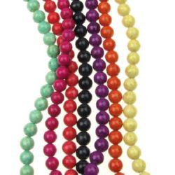 Margele de coarde piatră semiprețioasă FOSSIL ASORTE culori bile 10 mm ~ 38 bucăți