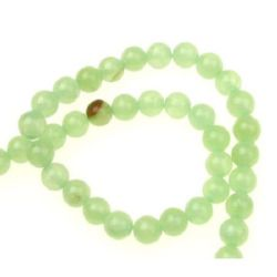 Gemstone Beads Strand, Natural  Jadeite, Round, Green, 6mm, ~66 pcs