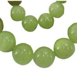 Gemstone Beads Strand, Natural  JADEITE in ball shape, Round, Green, 8mm, ~50 pcs