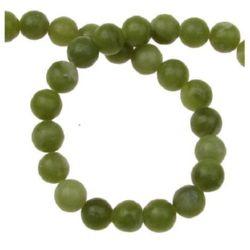 Νεφρίτης στρόγγυλη ημιπολύτιμη χάντρα  6mm πράσινο ~ 66 τεμάχια