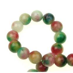 Șir de mărgele din piatră semiprețioasă AGAT alb verde roșu bilă 10 mm ~ 39 bucăți