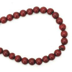 Τυρκουάζ κόκκινη στρόγγυλη ημιπολύτιμη χάντρα 10 mm ~ 40 τεμάχια