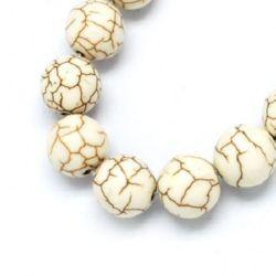 Margele de sfoară piatră semiprețioasă TURCOASE bilă albă sintetică 10 mm ~ 40 bucăți