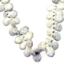 Наниз мъниста полускъпоценен камък ТЮРКОАЗ синтетичен бял капка 12x16x7 мм ~72 броя
